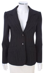 Nanette Lepore Pinstripe Metallic Lined Tuxedo BLACK AND GOLD Blazer