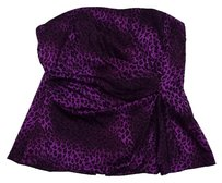 Nanette Lepore Purple Leopard Print Silk Top