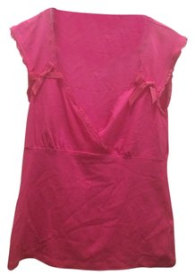 Nanette Lepore Bows V-neck Feminine Girly Top Pink