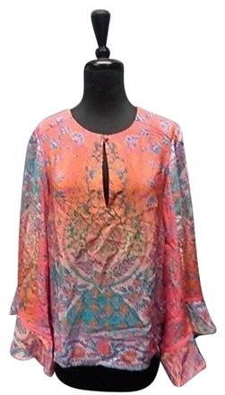 2cc937a6 low-cost Nanette Lepore Coral And Pink Multi-colored Floral Silk Blouse  Sma10336