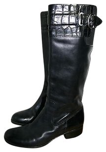 Naturalizer Leather Croc Embossed Knee Riding N5 Comfort Black Boots