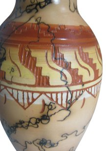 Navajo Horse Hair Vase Hand Turned Hand Painted + Etched 10
