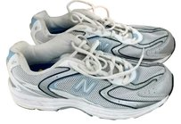 New Balance White with Silver, Black & Light Blue Athletic