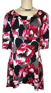 New Directions Directions Black Floral Print Empire Asymmetrical Hem Top Pink
