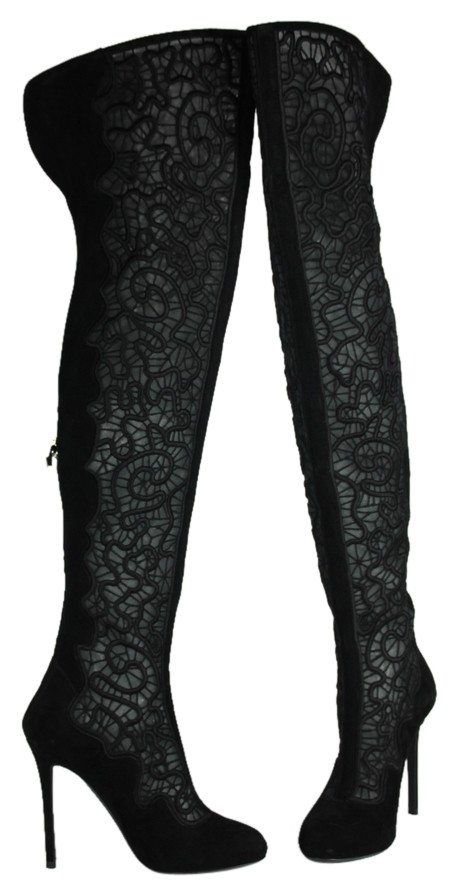 Nicholas Kirkwood Black * Embroidered Mesh Suede Over-the-knee Boots/Booties Size US 5 Regular (M, B)