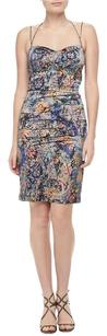 Nicole Miller Colorful Abstract Silk Sweetheart Date Dress