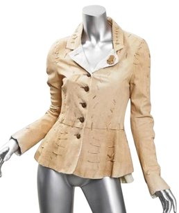 Nigel Preston Womens Leather Peplum Blazer Coat Light Tan Jacket