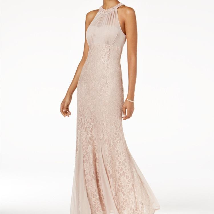 Night Way Collections Blush Lace Halter Beaded Gown Formal Wedding Dress  Size Petite 10 (M ...