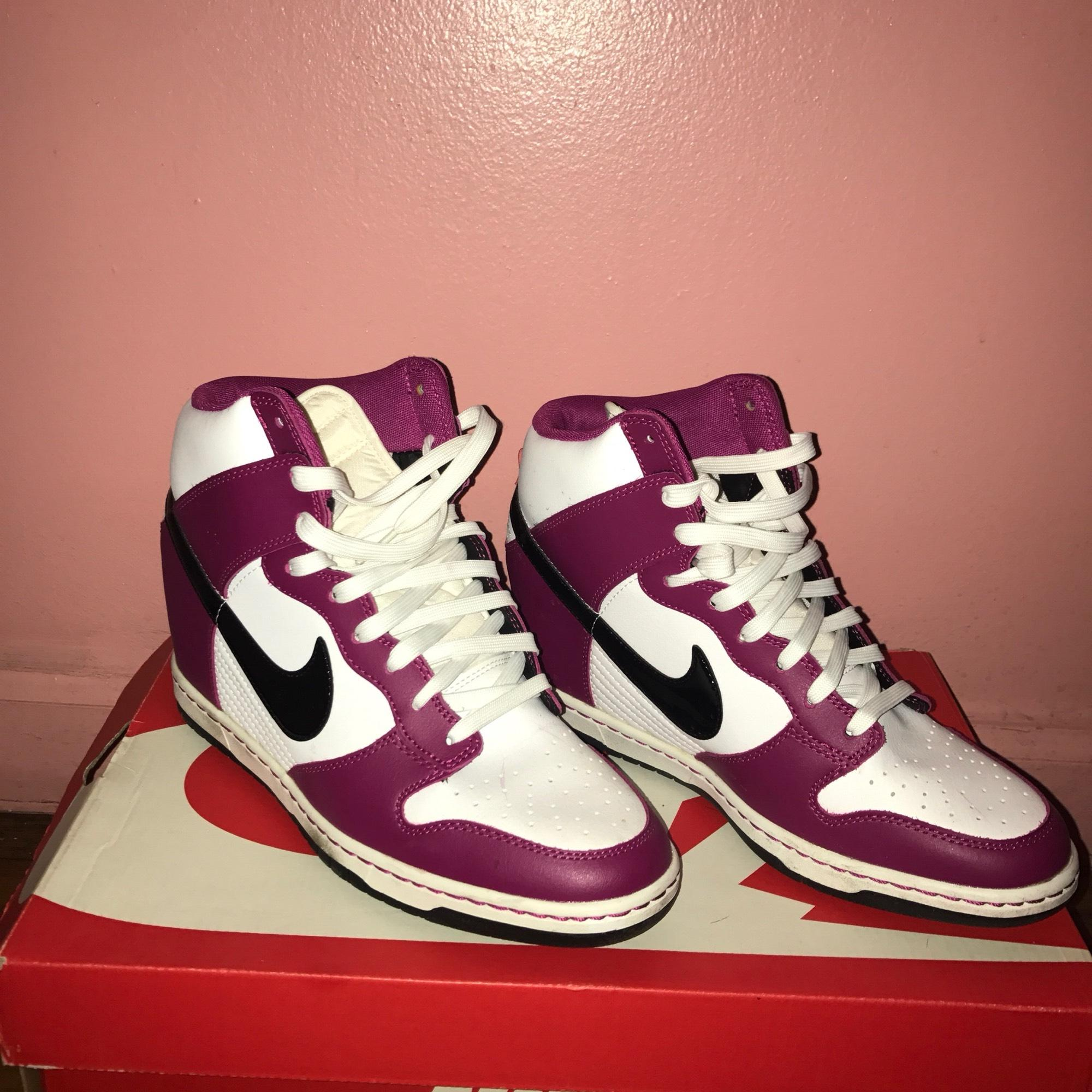 nike pink and white wedges sneakers size us 105 regular