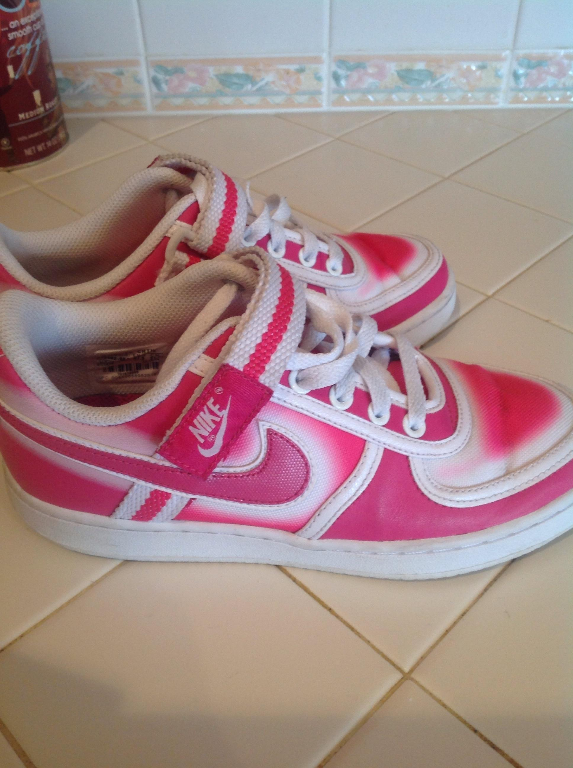 nike pink and white athletic shoes athletic on sale