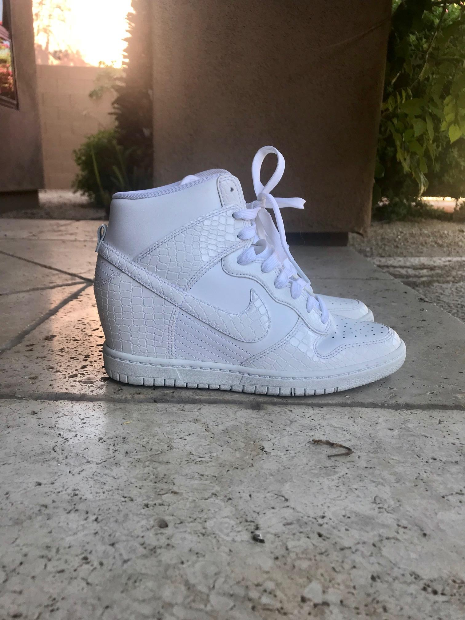 half off f39b1 84f33 ... get nike white dunk sky high leather croc wedge sneakers size us 6  cad6f e46db