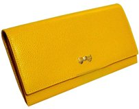 Nina Ricci Auth NINA RICCI Bifold Long Wallet Yellow Caivar skin Leather Vintage Good!