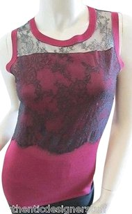 Nina Ricci Silk Knit And Lace Top Burgundy Red