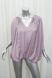 Nina Ricci Womens Satin Sleeveless Draped Shirt 4210 Top Purple