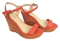 Nine West Orange with a cork wood design Wedges
