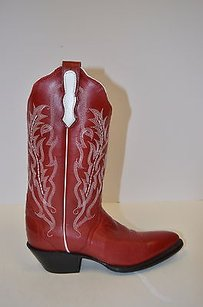 Nocona Leather White Red Boots