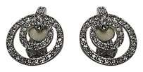 Nolan Miller Nolan Miller Silver Tone Round Layered Rhinestone Encrusted Clip Earrings B3379