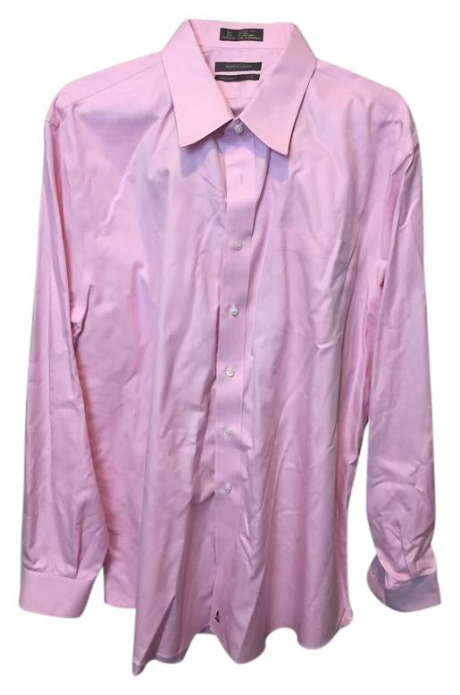 Nordstrom Pink 75517 Mens Button Front Dress Shirt Traditional 18/37 Button-down Top Size OS ...