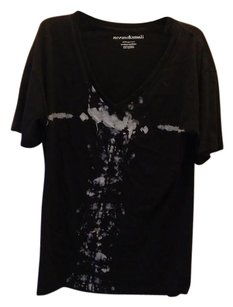 Norma Kamali Graphic V-neck Casual T Shirt Black
