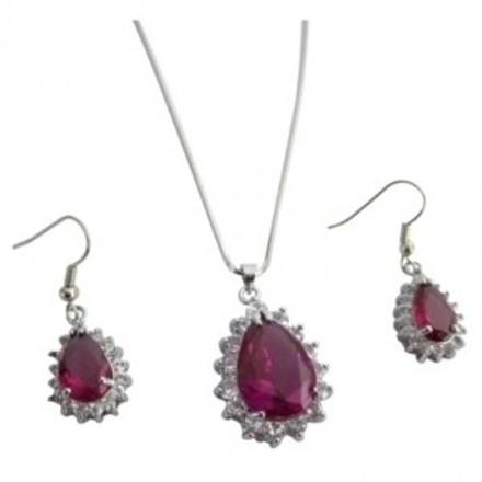 Ns1144 Xmas Gifts Fuchsia Pendant Earrings Set Holiday Gifts Sale Price