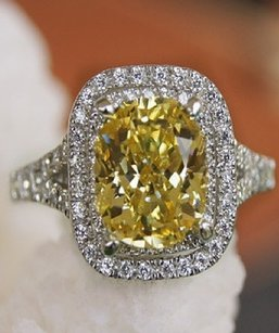 Solid Pt950 Platnium Yellow Diamond Ring 5.5 6 Wedding Engagement Square Band Luxury Vvs1 Jewelry Bridal Bride Wedding