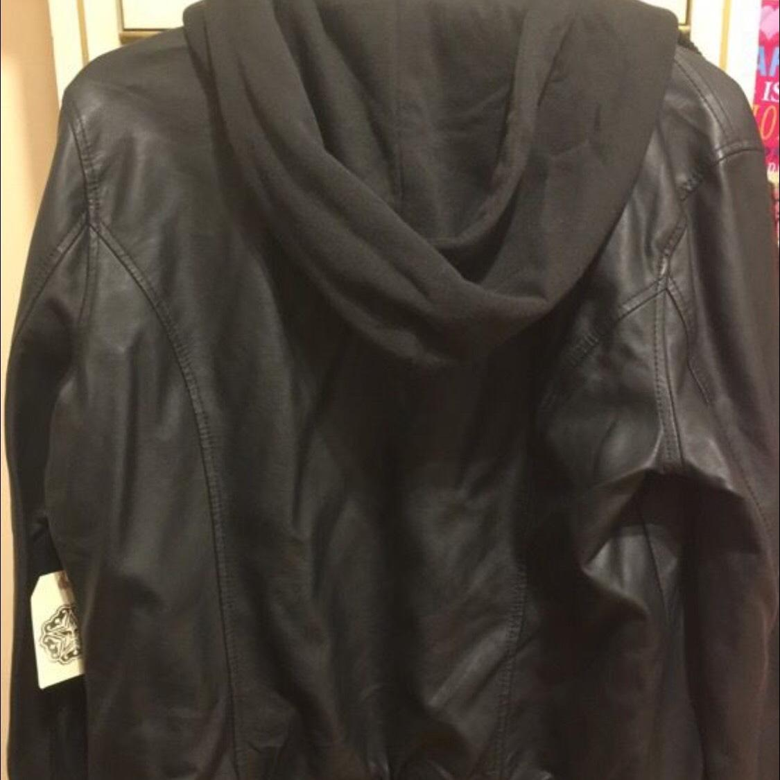 Obey leather jacket hoodie