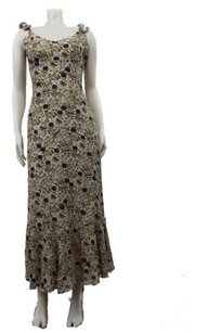 Multi-Color Maxi Dress by Odille Anthropologie Beige Floral Print Sleeveless Maxi