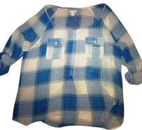 Old Navy Top Blue/White Plaid