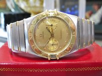 Omega Mens Omega Constellation Stainless Steel Gold Day Date Watch