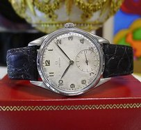 Omega Mens Vintage Omega Stainless Steel Sub-seconds White Patina Dial Watch
