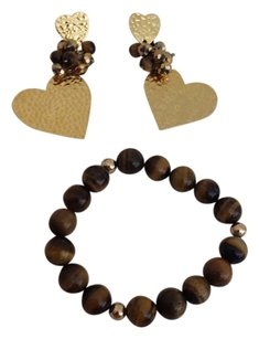 Tiger eye balls bracelet & gold plated live hart's earings
