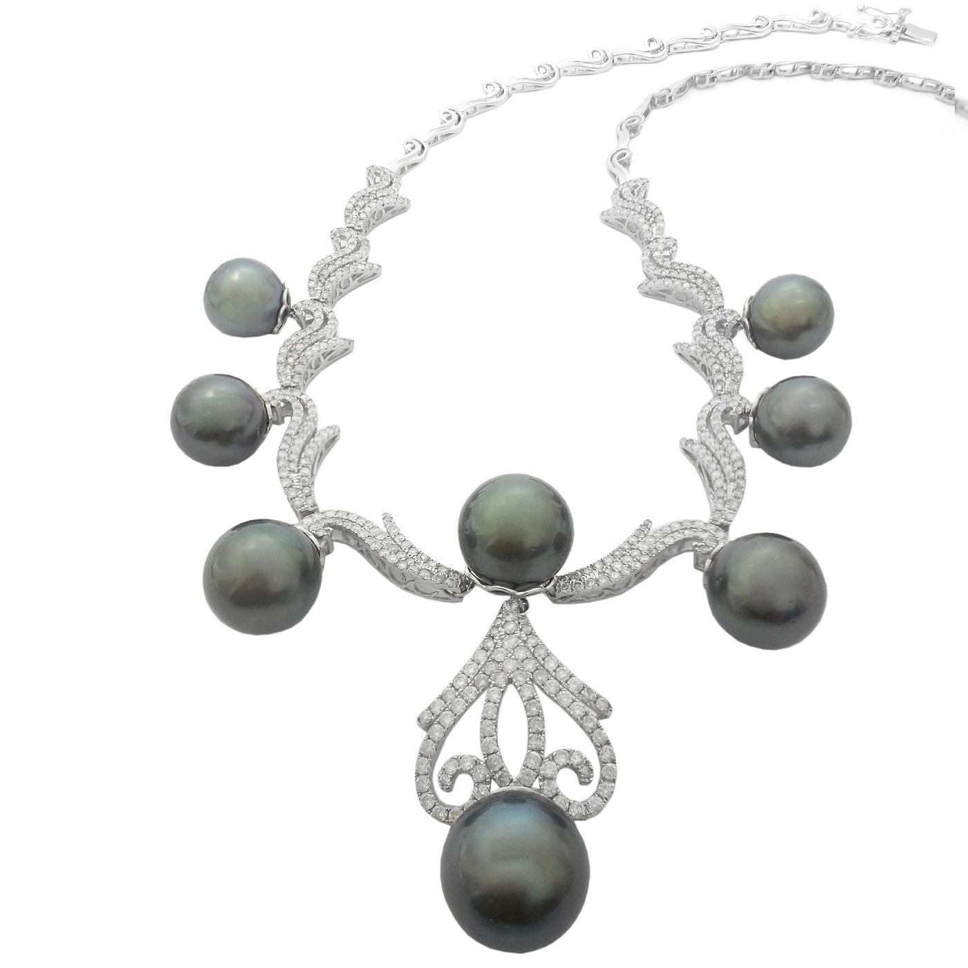White Gold 11.5mm To 12.5m Black Tahitian Pearl and ...