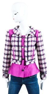 Oscar de la Renta Purple Navy Multi-Color Jacket
