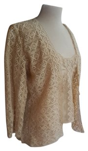 Oscar de la Renta Cropped Crochetknit Silk Top Bisque/Beige
