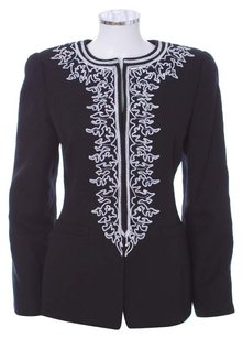 Oscar de la Renta Floral White Jacquard Jacket Cotton Embroidered Black Blazer