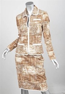 Oscar de la Renta Oscar De La Renta Womens Browncream Abstract Print Cotton Jacketskirt Suit