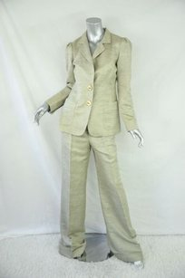 Oscar de la Renta Oscar De La Renta Womens Taupe Linen Two-button Blazer Wide-leg Pant Suit Set