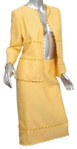 Oscar de la Renta Oscar De La Renta Womens Yellow Woolsilk Beaded Blazer Jacket Skirt Suit 8m