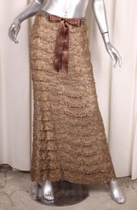 Oscar de la Renta Womens Iconic Silk Beaded Tiered Lace Long Formal Skirt Gold