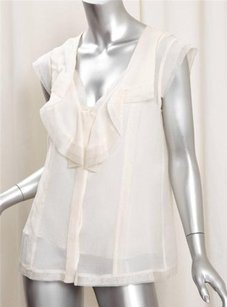 Oscar de la Renta Womens Cream Chiffon Ruffle Sleeveless Top