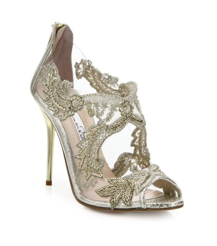 oscar de la renta wedding shoes oscar de la renta metallic ambria embroidered peep toe 6314