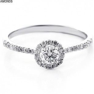 0.46 Cts Round Cut Diamond Halo Engagement Ring 18k White Gold