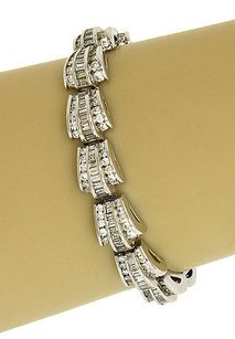 Other 10.2ct Diamonds 14k White Gold Fancy Curved Link Bracelet