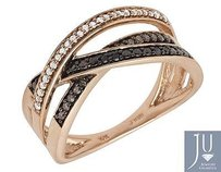 Other 10k Rose Gold Irradiated Black Brown Real Diamond Engagement Band Ring 0.20ct