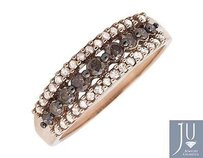 10k Rose Gold Rows Brown And White Genuine Diamond Wedding Ring Band 0.50ct.