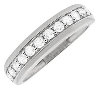 10k White Gold 1 Row Prong-set Diamond Engagement Wedding Ring Band .48ct