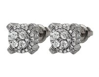 10k White Gold 3d Pronged Round Genuine Diamond Cluster Stud Earrings 0.65ct
