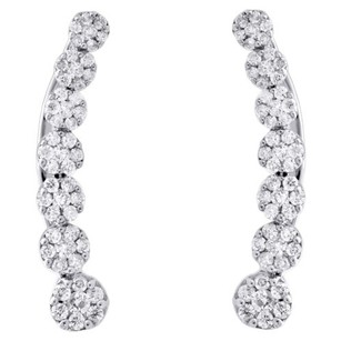 10k White Gold Diamond Ear Climbers Graduated Flower Earrings 0.85 Long 0.50 Ct