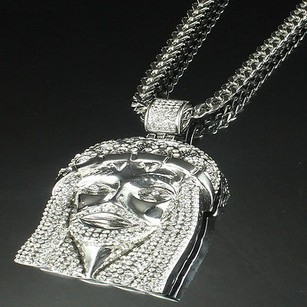 10k White Gold Finish Swarovski Crystal Jesus Charm Real Steel Solid Link Chain