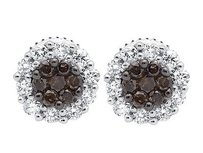 10k White Gold Flower 7mm Halo Frame Brown And White Diamond Stud Earring 0.50ct